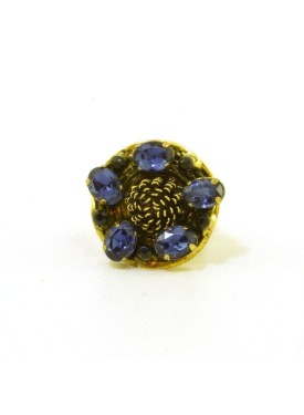 Gold antique ring with blue stones