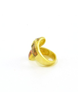 Gold ring in animal print with strass
