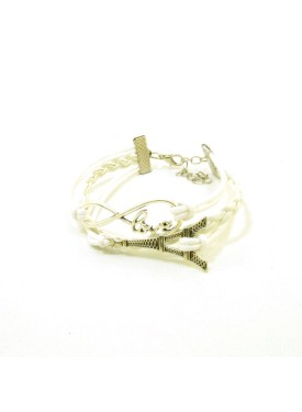 Leather bracelet with Eifel tower in white colour