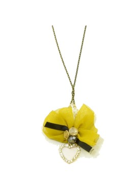 long necklace with gold chain and yellow bow