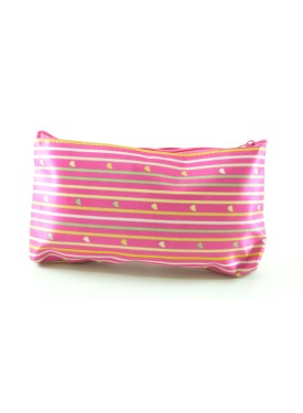 Pink beauty case with colourful stripes and hearts made of satin